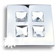 1035.0100.026 Ручка кнопка с кристаллами Swarovski, глянцевый хром 16 мм