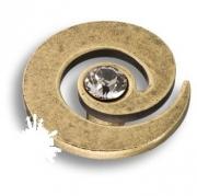 1039.0040.002 Ручка кнопка с кристаллом Swarovski, старая бронза