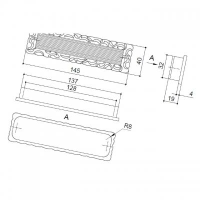 Ручка врезная 128мм, отделка старое серебро с блеском WMN.639X.128.J00E8