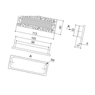 Ручка врезная 96мм, отделка старое серебро с блеском WMN.639X.096.J00E8