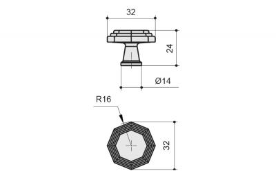 10.819.B50 Ручка-кнопка, отделка железо античное черное