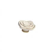 Ручка-кнопка, отделка керамика слоновая кость + золото P56.01.M9.06