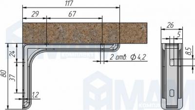 KB120/IVORY/N CORNER Менсолодержатель для деревянных полок с декоративной накладкой L-120 мм, светло-бежевый (2 шт.)