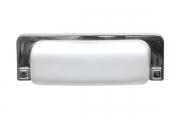 1201-96-1060 Ручка-ракушка 96мм, отделка хром глянец + керамика