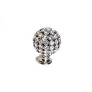 Ручка-кнопка, отделка никель + горный хрусталь MOB.472/NK/CRY