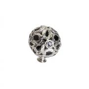 Ручка-кнопка, отделка никель + горный хрусталь MOB.605/NK/JET