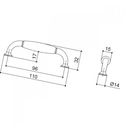Ручка-скоба 96мм, отделка бронза античная + керамика 9770/831
