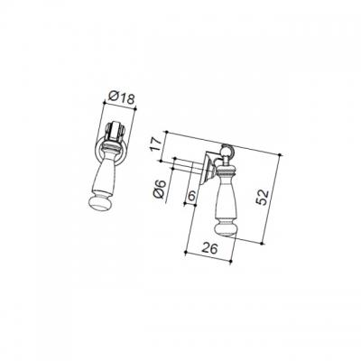 Ручка-серьга, отделка золото глянец + белая эмаль 3030/102