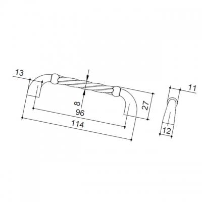 Ручка-скоба 96мм, отделка бронза античная 7582/831