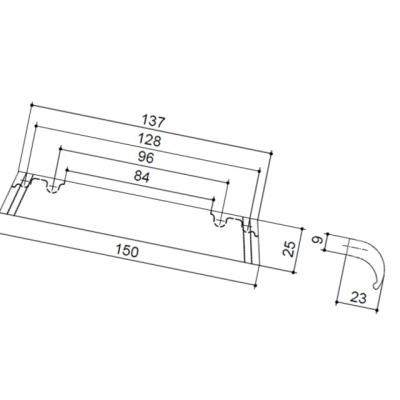 Ручка-скоба 128-096мм, отделка железо античное чёрное 9.1345.128096.50