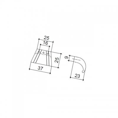 Ручка-скоба 16мм, отделка железо античное чёрное 9.1345.0016.50
