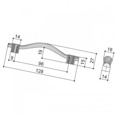 Ручка-скоба 96мм, отделка олово старое 7492/825