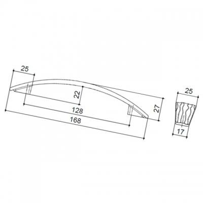 Ручка-скоба 128мм, отделка бронза античная 6151/831