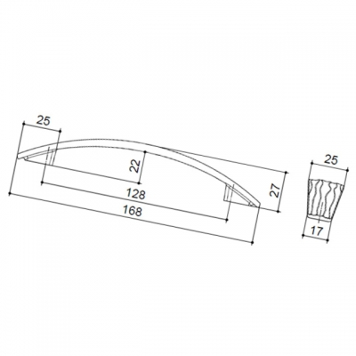 Ручка-скоба 128мм, отделка олово грубое 6151/836