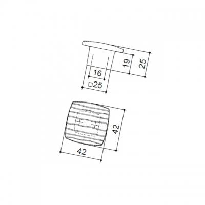 Ручка-кнопка 16мм, отделка бронза античная 6150/831