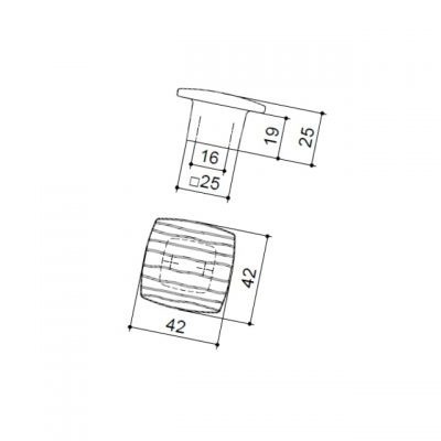 Ручка-кнопка 16мм, отделка олово грубое 6150/836