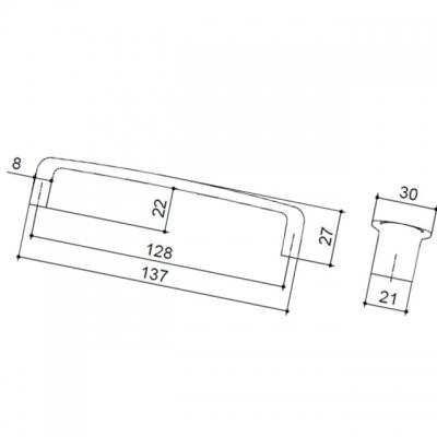 Ручка-скоба 128мм, отделка олово грубое 6161/836