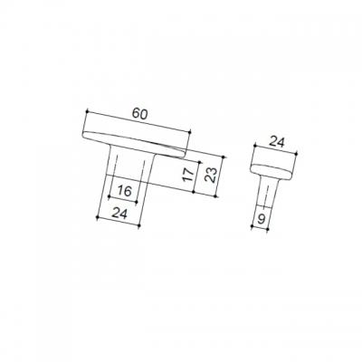 Ручка-кнопка 16мм, отделка олово грубое 6160/836