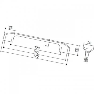 Ручка-скоба 160-128мм, отделка бронза натуральная 8.1108.160128.29