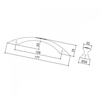 Ручка-скоба 128мм, отделка бронза античная 7371/831