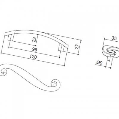 Ручка-скоба 96мм, отделка медь античная 7421/808