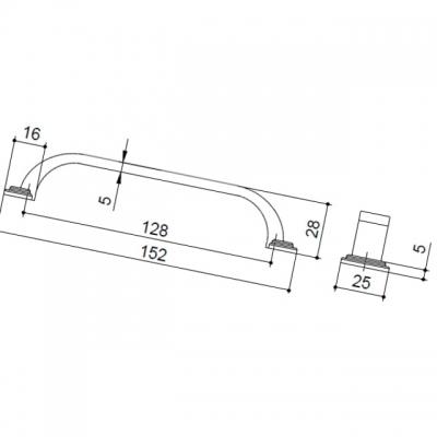 Ручка-скоба 128мм, отделка железо HN-I-3952-128-I