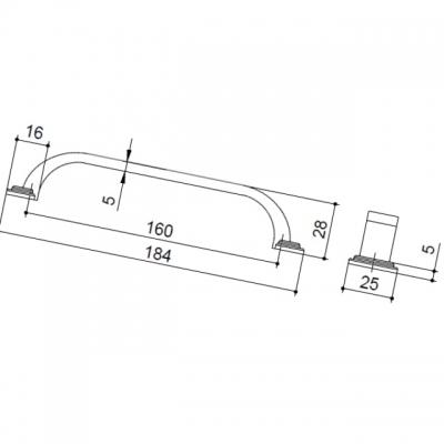 Ручка-скоба 160мм, отделка железо HN-I-3952-160-I