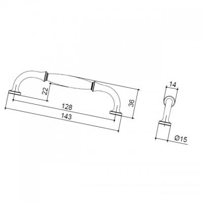 Ручка-скоба 128мм, отделка железо HN-I-3984-128-I