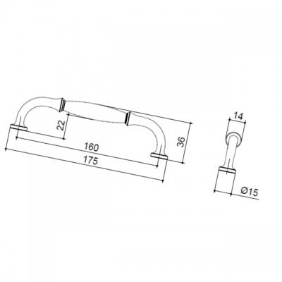Ручка-скоба 160мм, отделка железо HN-I-3984-160-I