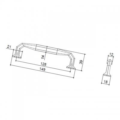 Ручка-скоба 128мм, отделка железо HN-I-3887-128-I