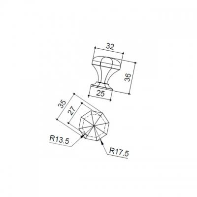 Ручка-кнопка, отделка железо KB-I-3885-32-I
