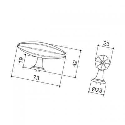 Ручка-кнопка, отделка железо KB-M-3918-73MM-I