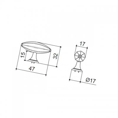 Ручка-кнопка, отделка хром глянец KB-M-3918-47MM-C
