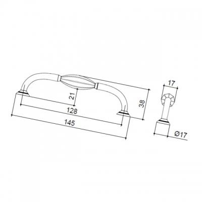 Ручка-скоба 128мм, отделка хром глянец HN-M-3919-128MM-C