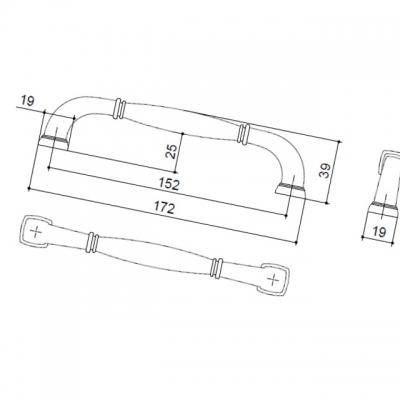 """HN-M-3935-6""""-AC-MM Ручка-скоба 152мм, отделка шлифованная медь"""
