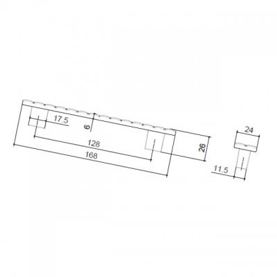 Ручка-скоба 128мм, отделка хром глянец 6141/400