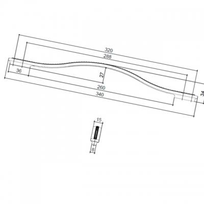 Ручка-скоба 320-288мм, отделка никель глянец воронёный + горный хрусталь 8.1110.320288.32