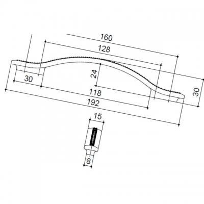 Ручка-скоба 160-128мм, отделка никель глянец воронёный + горный хрусталь 8.1110.160128.32