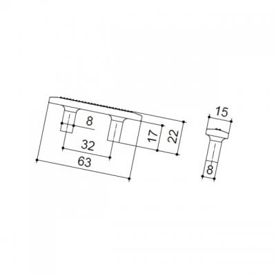Ручка-скоба 32мм, отделка хром глянец + горный хрусталь 8.1112.0032.40