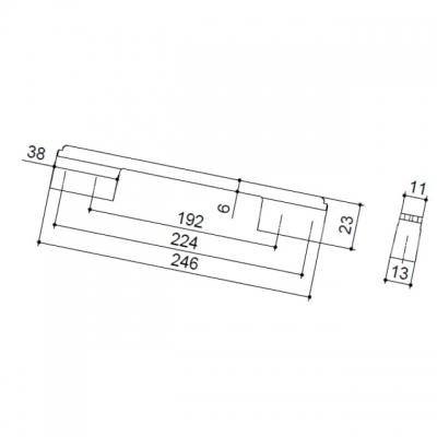 Ручка-скоба 224-192мм, отделка хром глянец + белый глянец 8.1092.224192.40-70