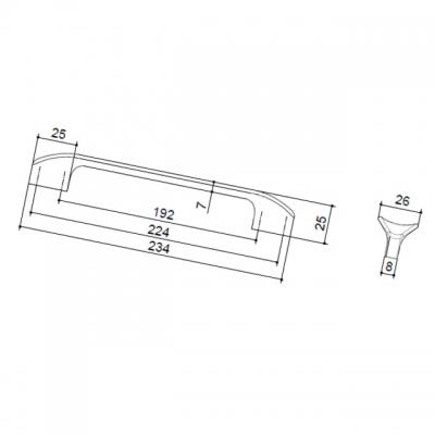Ручка-скоба 224-192мм, отделка чёрный глянец 8.1107.224192.53