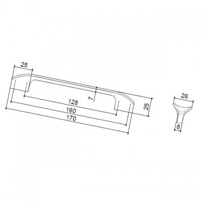 Ручка-скоба 160-128мм, отделка чёрный глянец 8.1107.160128.53