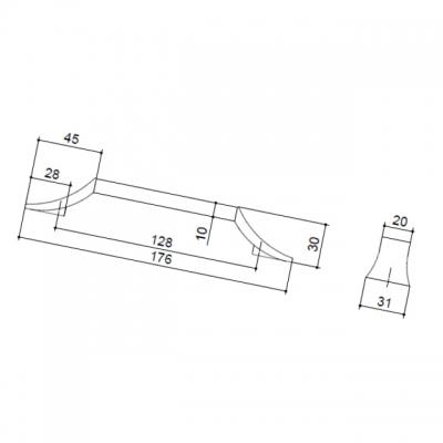 Ручка-скоба 128мм, отделка хром глянец + белый матовый 8.1093.0128.40-70