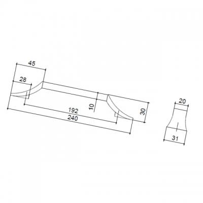 Ручка-скоба 192мм, отделка хром глянец + белый матовый 8.1093.0192.40-70