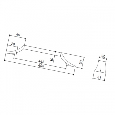 Ручка-скоба 448мм, отделка хром глянец + белый матовый 8.1093.0448.40-70