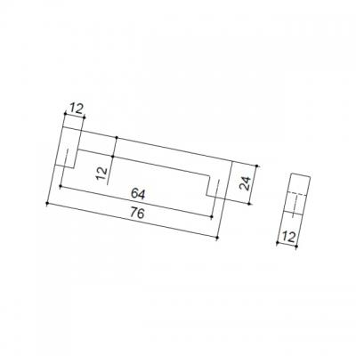 Ручка-скоба   64мм, отделка сталь шлифованная F101/C-CM