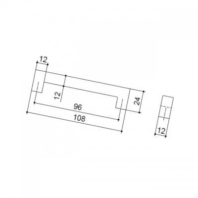 Ручка-скоба   96мм, отделка сталь шлифованная F101/D-CM