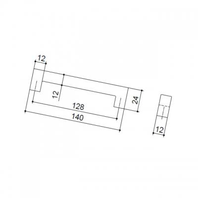 Ручка-скоба 128мм, отделка сталь шлифованная F101/E-CM