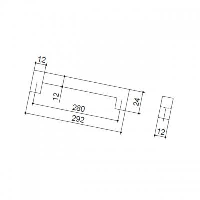 Ручка-скоба 280мм, отделка сталь шлифованная F101/H-CM
