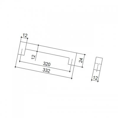 Ручка-скоба 320мм, отделка сталь шлифованная F101/I-CM